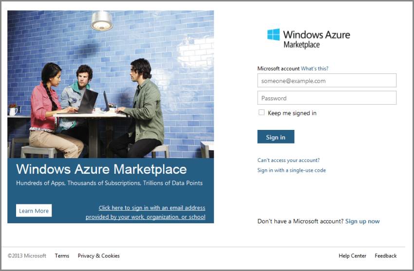 Windows Azure Marketplace Sign in
