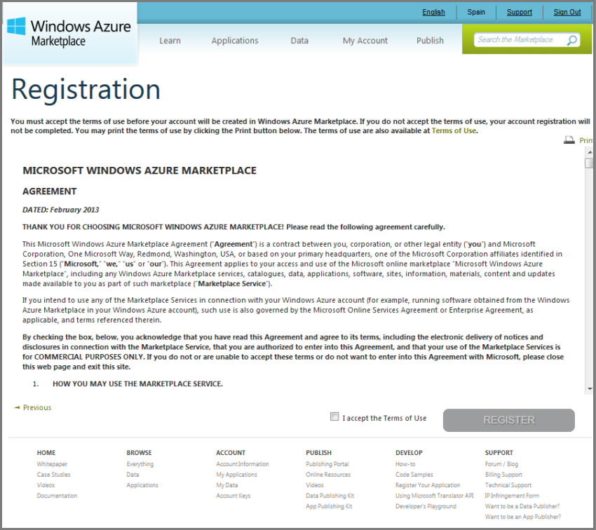Windows Azure Marketplace Terms of Use